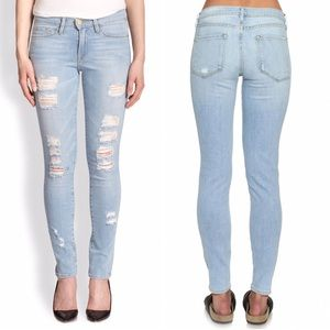 Frame Denim Jeans - Frame Le Skinny De Jeanne Distressed Denim MidRise